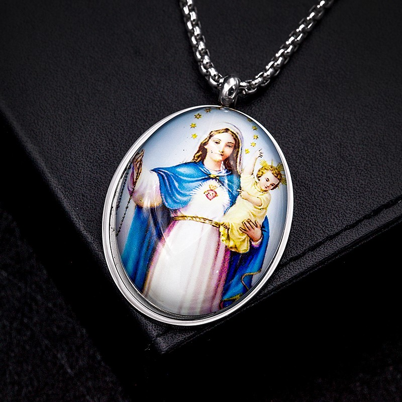 Christian Gift Religious Virgin Mary Medals Jewelry with Glass Cover