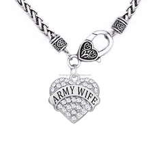 Crystal Army Wife present European Style Military Mom link chain wheat heart necklace