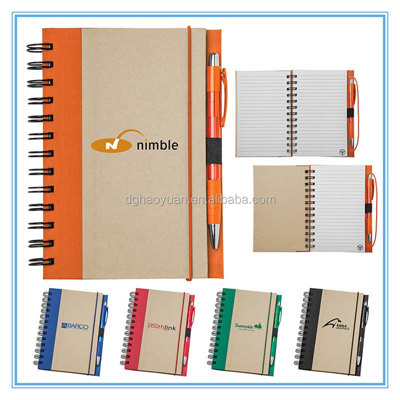 stationery-recycle paper notebook with pen