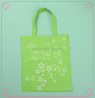 Full printing green color eco non woven reusable shopping bag