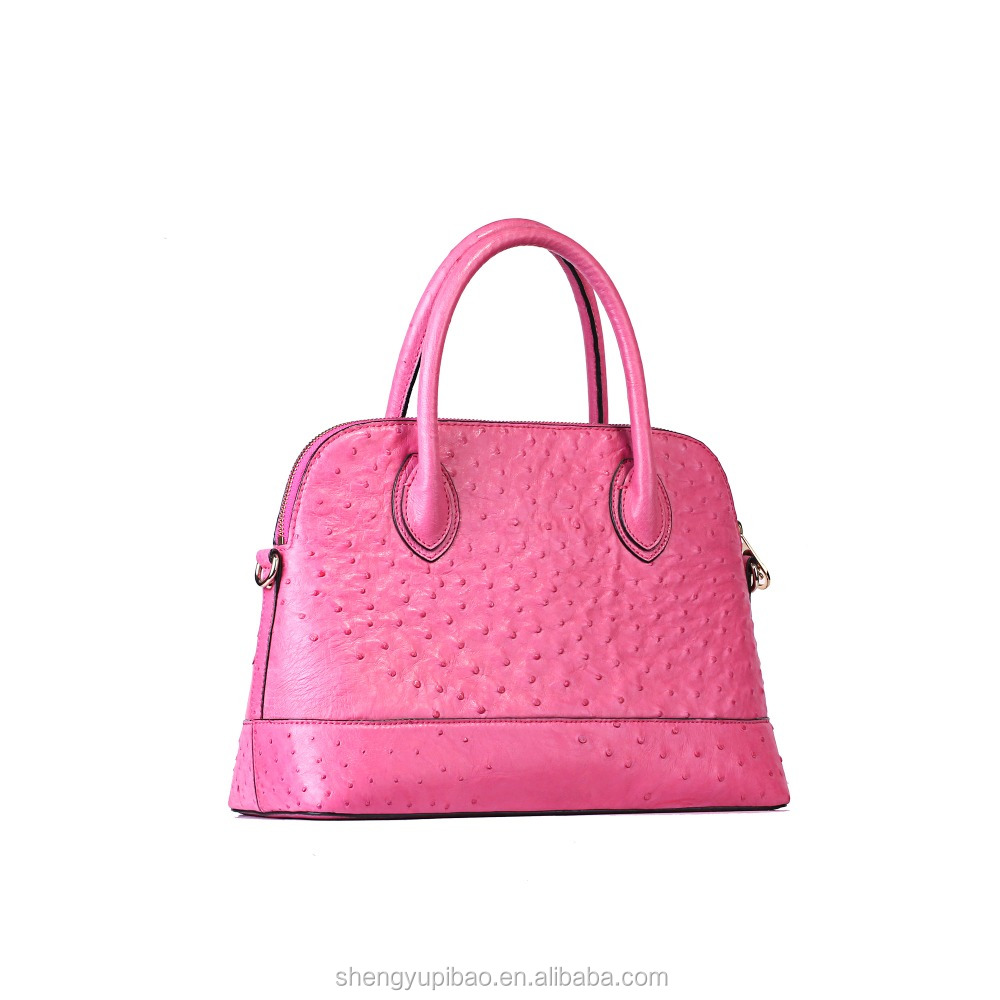Customize Shell Style Ladies Hand Bags <strong>Totes</strong> With High Quality Ostrich Leather