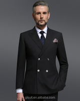 2014 New style 100%wool double breast two buttons black wedding dress suits for men