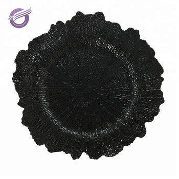 PZ01420 new products black sea sponge cheap plastic charger plate
