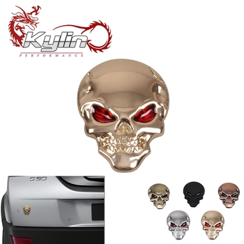 kylin racing Cool Metal skull label ghost design 3D rear label car sticker For Car