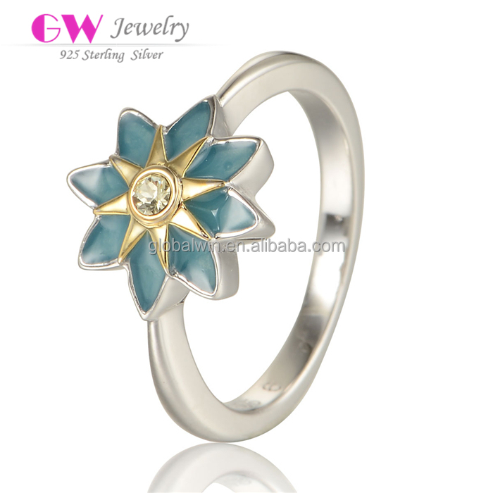 925 Sterling Silvers Ring Enamel Sun Flower Party Ring Wholesale