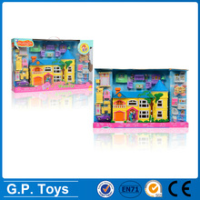 Newest christmas kids plastic funiture doll house set villa toys