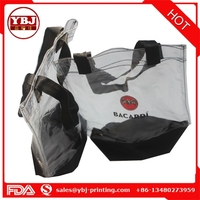 New design clear PVC Plastic ice bag for wine promotion with handles