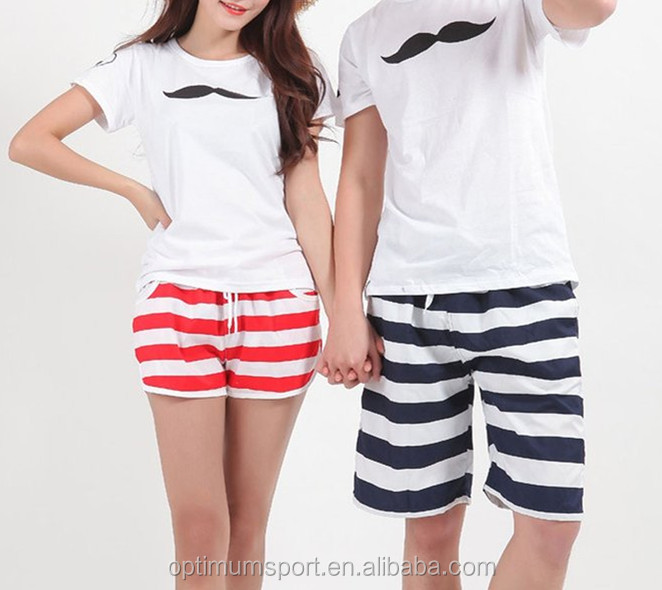 red and white striped women shorts/black and white striped men shorts/couple beach shorts