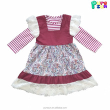 two pieces children wear paisley print kids girls winter dresses