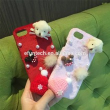 Winter use cute bear and knitted hats plush mobile phone cover for iphone 7 case cover