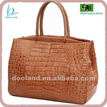 Custom real exotic reptile elegant design ladies genuine caiman crocodile hornback skin leather handbag tote bag
