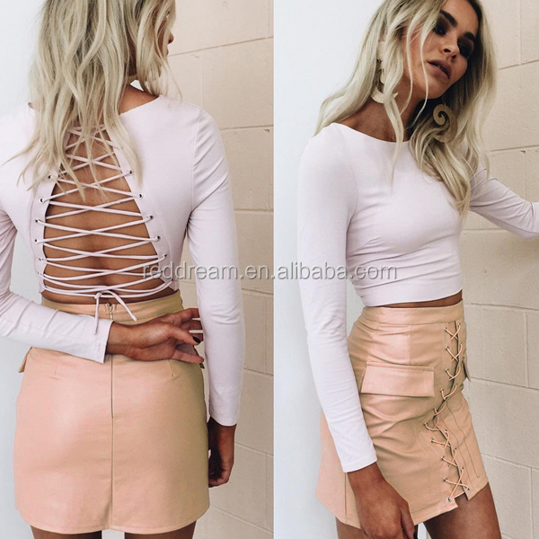 2016 New Sexy Women White Long Sleeve O-Neck Backless Shirt And PU Pants Two Pieces Sets Bandage Dress Wholesale