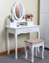 Anewway high quality white Solid rubber Wood Bedroom dressing table