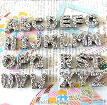 china bead alloy 8mm 10mm 18mm slider charm bling letters