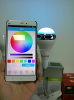 led 7 color changing bluetooth speaker light 10w led bulb e26 e27 music with remote by free APP