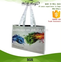 high quality glossy bopp laminated pp woven bag with webbing handle