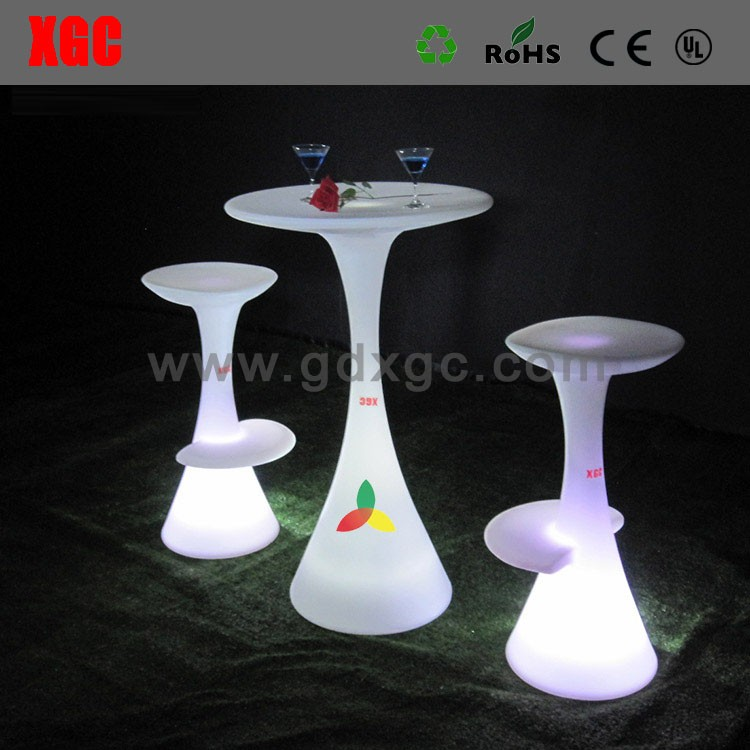 muebles de bajo precio 16 COLORS CHANGING chair LED lighting round negotiation desk with stool