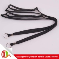 Eco friendly badge holder plain lanyard with metal hook,black plain lanyard