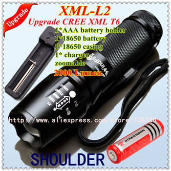 Best price UltraFire XML T6 L2 2000 Lumen CREE rechargerable Zoom LED mini Flashlight torch(1*AAAholder+1*18650battery+charger