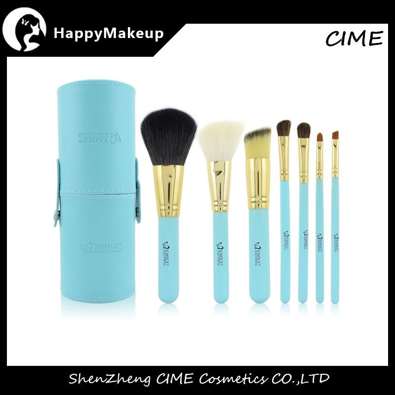 Professional Cosmeticos Emily 7pcs Goat Hair Makeup Brush Sets Cosmetic With Cylinder