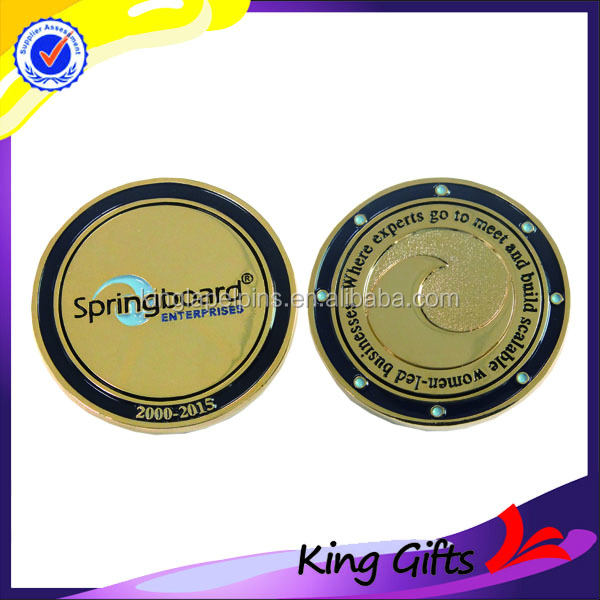 Die casting personalized design free sample gold plated smooth surface metal challenge coins