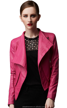 High Quality Fashion Girls Pink Leather Jacket