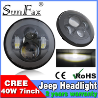 "Promotion! 7inch round Black Sliver Hi/Low C REE Led headlight , 7"" 40W Harley motorcycle sealed beam light for Jeep Wrangler"