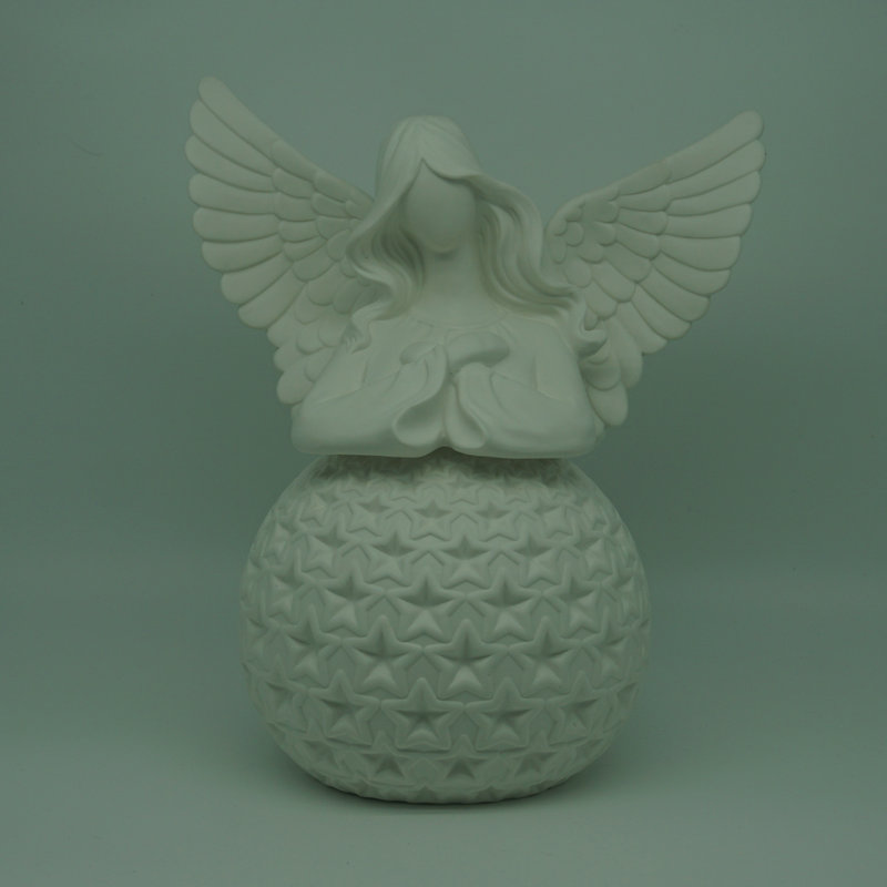 LED ceramic large angel figurines with ball