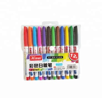 6 color coloured whiteboard pen, small thin rod wipe easy whiteboard marker