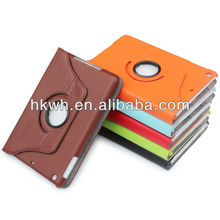 High quality 360 color leather case for ipad mini with with sleep and wake up function