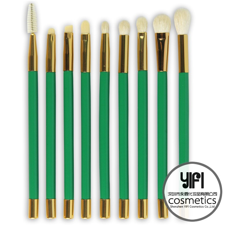 High-grade TZ 15 piece green color makeup brush set wholesale