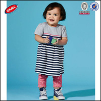 wholesales cotton empire child baby dress model striped bottom