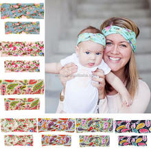 2Pcs/Set Mom and Me Cotton Turban Headband Top Knotted Elastic Headband Floral Printed Baby and Mommy Headwrap Sets