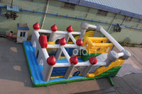 Inflatable castle fun city with slide and with large jumping area