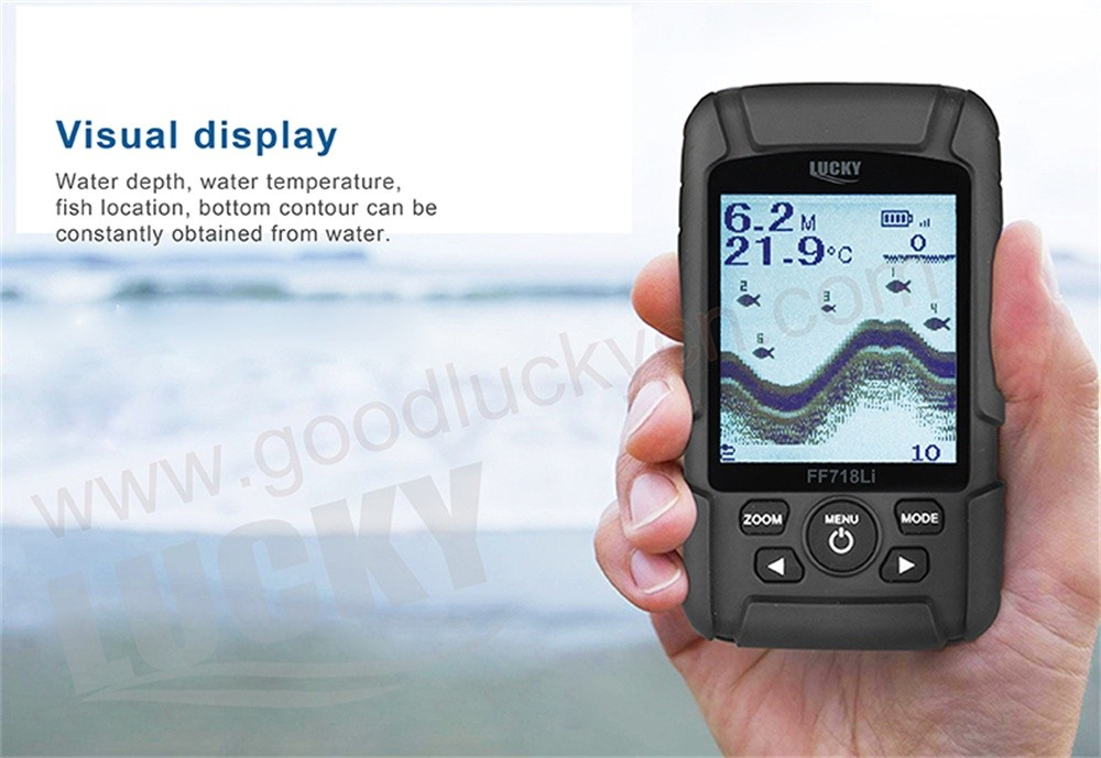 LUCKY 328ft /100m depth Fishfinder Sonar Transducer Dual Frequency Wireless Sensor Portable Waterproof Fish Finder FF718Li