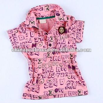 bright color cartoon kids printed polo shirt for children