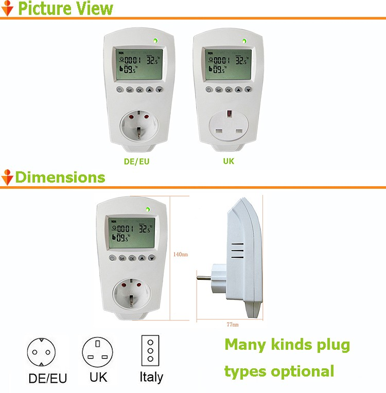 LCD Display 16A Digital Room Thermostat Plug in Thermostat EU Socket For Electric Floor Heating System
