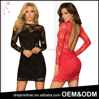 Black and Red Color Womens Sexy Bodycon Pencil Backless Long Sleeve Lace Dress