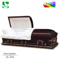 JS-A941 cheap pecan veneer caskets for sale