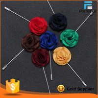Have Stock Fashion Handmade Silk Fabric Flower Metal Lapel Brooch Pin