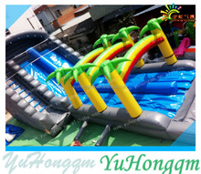 New palm tree jungle inflatable long N slip water slide with pool