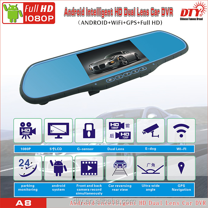 "Android 4.4 Quad Core 5.0"" Touch Screen 1920x1080 Full HD Dual Lens Car rearview mirror camera dvr car gps dvr with FM and WI-FI"