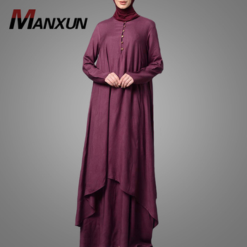 China Manufacture Plain Muslim Khimar Abaya Long Dress Hot Selling  Two Pieces Islamic Clothing Blouse with Skirt