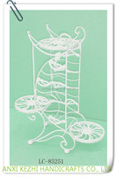 LC-85251 Metal 3 Tiers White Flower Planter Stand Elegant Arch Design Plant Stand