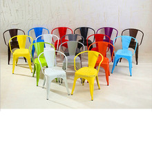 Popular metal frame wood seat heavy duty wrought iron dining chairs