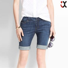 2015 new women ladies mid waist skinny jeans classic denim shorts girls sexy tight jean JXQ858