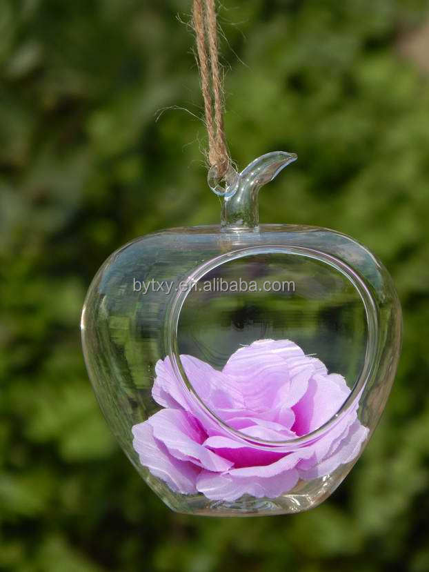 apple shaped hanging glass vase with hole