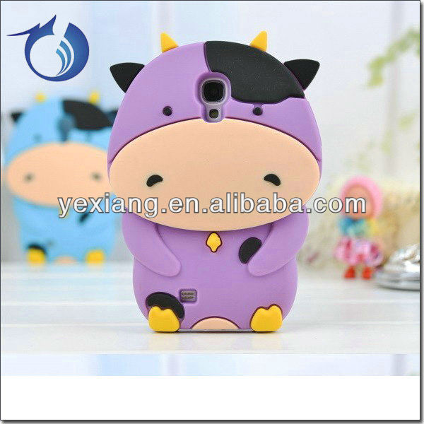 Newest Milk Cow 3D Silicon Case For Samsung Galaxy S4 Lovely Soft Cases
