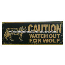 Vintage primitive wall hanging wooden CAUTION WATCH OUT FOR WOLF sign