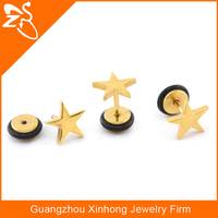Fashion Stainless Steel Earring Piercing, top wholesale gold plated jewellery, star stud earrings for girl festival accessory